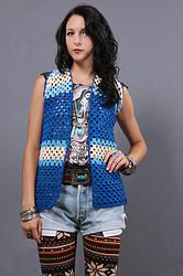 70's Right Hand Crochet Gilet - Vintage 70s Stripe Hand Crochet Sheer Knit Hippie Boho Gypsy Festival Gilet Vest