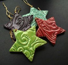 Ceramic Christmas Stars set of 4 £8.00