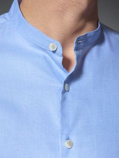 Cotton mini Mandarin collar shirt