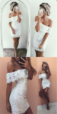 Lace party dresses, short white off shoulder cocktail dresses, cheap lace party dresses, sexy off shoulder homecoming dresses, summer fashion