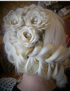 // Braids // Wedding hair braid flowers. I love the beads and pearls in the middle.