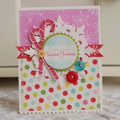 Such a cheerfully sweet, totally fun candy cane card. #Christmas #card #handmade #card_making #paper_crafts #scrapbooking