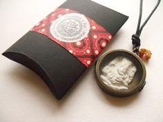Ganesh talisman pendant, shadow box locket by Ganesha's Rat.