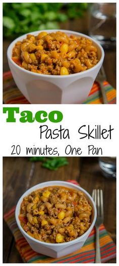 Taco Pasta Skillet - All the flavors of taco night in a one pan meal, ready in. Taco Pasta Skillet - All the flavors of taco night in a one pan meal, ready in 20 minutes! Homemade version of taco Hamburger Helper, with just a few staple ingredients. One Pan Meals, Quick Meals, Hamburger Helper Maison, Homemade Hamburger Helper, Pasta Dishes, Food Dishes, Homemade Hamburgers, Def Not, Skillet Dinners