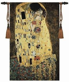 Gustav Klimt – kiss Wedding gift Symbol of love Wall hanging tapestry Dress women Home jacauard fabric textile Aubusson - WallDecorFix - Wall Décor Materials & Items