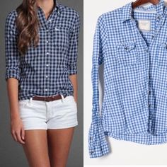 Abercrombie gingham shirt in excellent condition Like new, great quality shirt from Abercrombie. No flaws, lightweight 100% cotton, Large but fits like a medium. Abercrombie & Fitch Tops Button Down Shirts