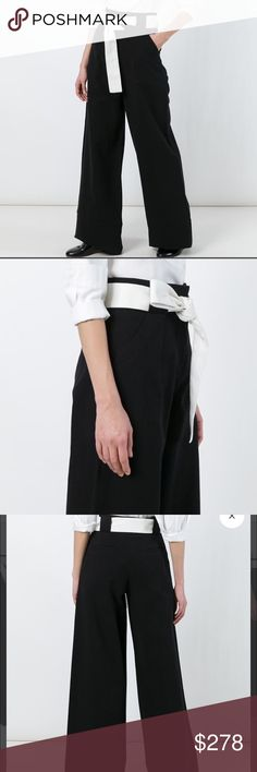 "NWT Each X Other Wide Leg Trousers EACH X OTHER black micro-canvas wide-leg trousers styled with a white self-tie belt. Set-on waistband, belt loops, quarter-top pockets, welt back pockets, 12"" rise, 32"" inseam, 23"" leg opening, Zip fly, hook-and-bar closure, jigger button, 100% cotton, Machine washable. Bought at Barneys NY.  Each x Other was born between fashion designer Ilan Delouis and artistic director and gallery owner Jenny Mannerheim. The ethos of the label has always been ""Art Meets…"