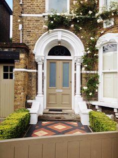 tan victorian front door, south east london Victorian Front Doors, London House, Front Entrances, House Exteriors, East London, Interior And Exterior, Garage Doors, Decorating Ideas, Yard