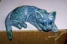 LAMORNA POTTERY BLUE GLAZED CAT