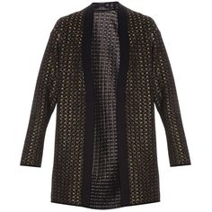 ALAIA Lurex Cardigan ($2,277) ❤ liked on Polyvore featuring tops, cardigans, stretch top, black and gold top, cardigan top, evening tops and alaia top