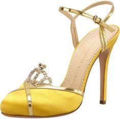 Charlotte Olympia Yellow Tiara Satin Crystal Anklestrap Sandal