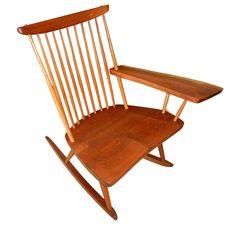 George Nakashima Free Edge Plank Arm Rocking Chair  USA  1950's