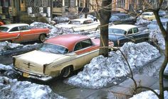 Jersey City NJ 1950s Street Scene with Cars