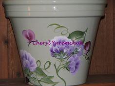 Vines & Flowers - handpainted flower pot