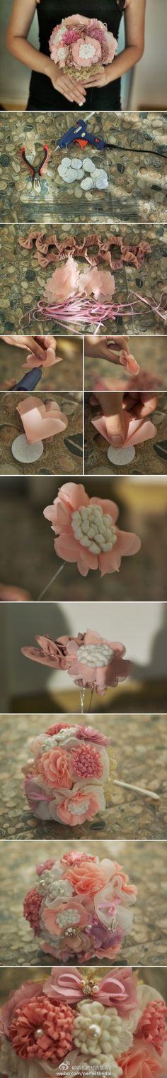 """Sweet """"de flores BRIDE explotación que tutorial] dulce"""" de la novia, qi qi hogar hechos a mano, faltar al trabajo primavera nueva mano de color rosa, le dio un otoño frío, quiero ser una novia dulce princesa, esta Es un momento maravilloso de la masa de la mañana."""