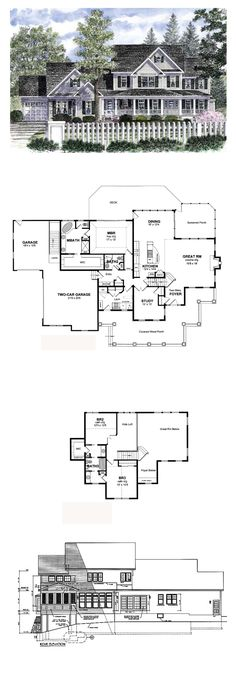 Farmhouse Style COOL House Plan ID: chp-36742 | Total Living Area: 2652 sq. ft., 3 bedrooms & 3 bathrooms. #houseplan #farmhouseplan
