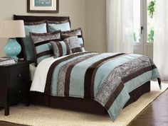 Aqua and Chocolate Suede Striped Bedding