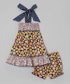 Another great find on #zulily! Black Floral Shirred Halter Dress & Bloomers - Infant by Lele Vintage #zulilyfinds