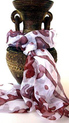 Handpainted indian silk scarf, Hippie Boho scarf silk with henna and blockprint motifs by KavitaKriti, $30.00 #etsy  #indian #silkpainting #silkscarf #kavitakriti #ethnicscarf #boho #hippie #hippy #gypsy #henna #blockprint