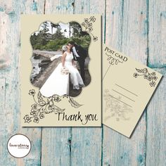 Floral Wedding Thank you Card / Floral Thank You Card / Vintage / Cream / DIY Printable / Printing available with free envelopes #etsy  #etsyretwt