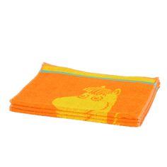 Kirkkaan oranssi ja aurinkoisen keltainen Niiskuneiti-käsipyyhe. Piristää minkä tahansa kylpyhuoneen ilmettä. Muumi-pyyhkeet on suunniteltu Tove Janssonin alkuperäispiirustusten pohjalta, ja ovat aitoja ©Moomin Characters™ -lisenssituotteita.