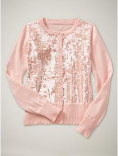 and a sparkly sweater for the dress Sequin Cardigan, Pink Cardigan, Pink Sweater, Sparkly Sweater, Family Picture Outfits, Love Is In The Air, Tween Fashion, Girls Shopping, Dress To Impress