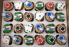 Poker chip cupcakes and card cupcakes. poker chip cupcakes and card cupcakes game night parties Poker Cupcakes, Poker Cake, Themed Cupcakes, Game Night Parties, Casino Night Party, Casino Theme Parties, Cupcake Party, Cupcake Cakes, Party Food Themes