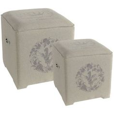 A Home Vintage Style Ottoman Stool, Set of 2