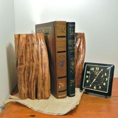 Vintage bookends wood tree trunks by jollytimeone on Etsy
