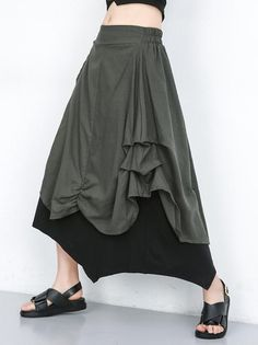 Material Cotton-blend Style Loose Feature Ruffled Occasion Going out , Casual , Urban. Casual Dress Outfits, Summer Dress Outfits, Casual Summer Outfits, Casual Skirts, Fashion Outfits, Ruffle Skirt, Dress Skirt, Medieval Fashion, Cotton Style