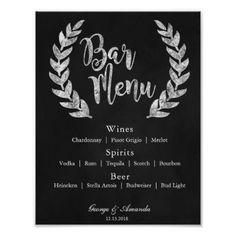 Chalkboard Wreath Bar Menu Poster - wedding decor marriage design diy cyo party idea