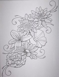 Keep the lily, daisy, and morning glory. Add a hibiscus, plumeria, and sunflower. Plus dragonflies?