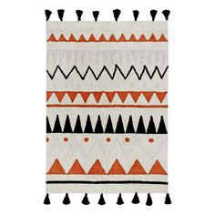 The Lorena Canals Azteca Natural Kids Area Rugfeatures an on-trend tribal pattern in select contemporary color options with a tassel trim. It's handmade of thick, natural cotton and is conveniently machine washable. Lorena Canals, Washable Rugs, Zig Zag Pattern, Rug Material, Natural Rug, Lowes Home Improvements, Decoration, Terracotta, Backdrops