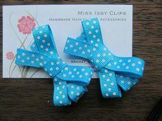 Blue polka dots hair clips