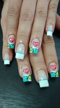Uñas French Nails, French Manicure Nails, Valentine's Day Nail Designs, Fingernail Designs, Quilted Nails, Blue And White Nails, Paris Nails, Fingernails Painted, Acrylic Nails At Home