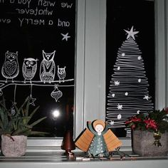 Fensterdeko Weihnachten Archives - Fashion and Recipes Christmas Doodles, Christmas Drawing, Christmas Mood, Christmas Countdown, Christmas Crafts, Christmas Ornaments, Christmas 2017, Christmas Window Display, Christmas Window Decorations
