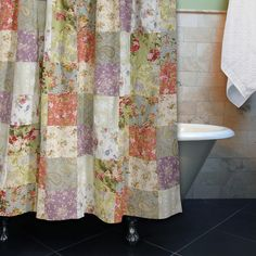 Lend your bathroom a touch of country charm with this pretty patchwork-print cotton shower curtain. This shower curtain is made from 100 percent easy-care machine-washable cotton and is lined for durability and to give you privacy in the shower.
