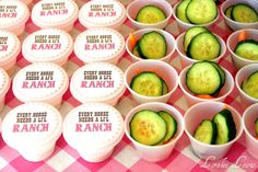 "Ranch dressing cups - because ""every horse needs a little Ranch."""