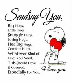 Snoopy bringing some love. Hug Quotes, Love Quotes, Funny Quotes, Inspirational Quotes, Snoopy Quotes Love, Snoopy Hug, Image Positive, Peanuts Quotes, Love Hug