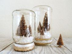 Bottle Brush Christmas Tree Snow Globe Jar in Gold. $22.00, via Etsy.