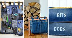 Brilliant Upcycled Denim Storage Ideas Denim is a fantastic fabric when it comes to crafting. I show you some of the best ideas for upcycling and creating denim storage out of your old jeans. Jean Crafts, Denim Crafts, Upcycled Crafts, Recycled Denim, Recycled Fabric, Denim Bag Patterns, Denim Ideas, Old Jeans, Clothes Crafts