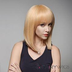 Stuning Medium Length Straight Remy Human Hair Hand Tied -Top Woman's Emmor Wigs