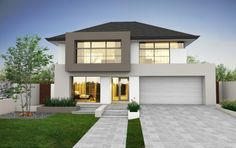 Facade of modern two story house Two Story House Design, House Front Design, Modern House Design, Facade Design, Exterior Design, Architecture Design, Style At Home, House On The Rock, Storey Homes