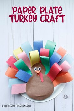 Paper Plate Turkey Craft is a great kids craft. This craft is easy enough for preschoolers to put together and helps them develop fine motor skills. #thanksgivingcraftsforkids #paperplatecrafts