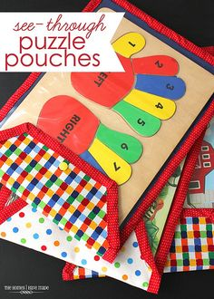 store flat wooden puzzles in these easy-sew clear puzzle pouches! - full tutorial!