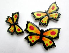 3 handmade and handpainted ceramic butterflies by RedShedCeramics, $7.50