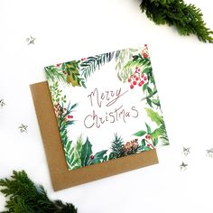 Wish someone a Merry Christmas with this cute card! The card features a print of a watercolour winter foliage design, with the message: Merry christmas PRODUCT DETAILS: Comes with a brown Kraft envelope ( as shown in the pictures) Blank inside for y Painted Christmas Cards, Watercolor Christmas Cards, Watercolor Cards, Christmas Greeting Cards, Christmas Art, Christmas Greetings, Handmade Christmas, Holiday Cards, Christmas Card Designs