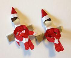 Baby Bug Wear's Elves on the Shelf ribbon sculptures!