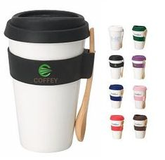 Spoon Holding Double-wall Porcelain Mug with Silicone Lid Custom Decorated Promotional Product.