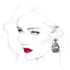 Kai Fine Art is an art website, shows painting and illustration works all over the world. Portrait Sketches, Portrait Art, Art Sketches, Art Drawings, Fashion Illustration Face, Jewelry Illustration, Illustration Art, Fashion Illustrations, Lily Painting